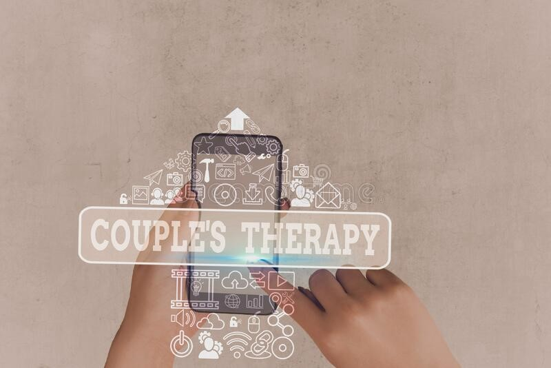 divorcing couples therapy graphic on mobile device image